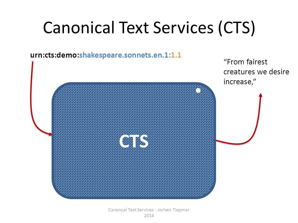 Typen von Textabschnitten Einfach (Kapitel 12, Vers 2, Lied 1985, Edition, Werk) urn:cts:demo:shakespeare.sonnets.en.1:1.1 urn:cts:demo:shakespeare.sonnets.en.1: Spanne urn:cts:demo:shakespeare.sonnets.en.1:1.1-1.2 urn:cts:demo:shakespeare.sonnets.en.1:1-1.10.6 Teilabschnitt urn:cts:demo:shakespeare.sonnets.en.1:1.1@creatures Spanne über Teilabschnitte urn:cts:demo:shakespeare.sonnets.en.1:1.1@creatures-1.10@gaudy urn:cts:demo:shakespeare.sonnets.en.1:1@creatures-1@gaudy[1] Canoncal Text Services - Jochen Tiepmar 2014