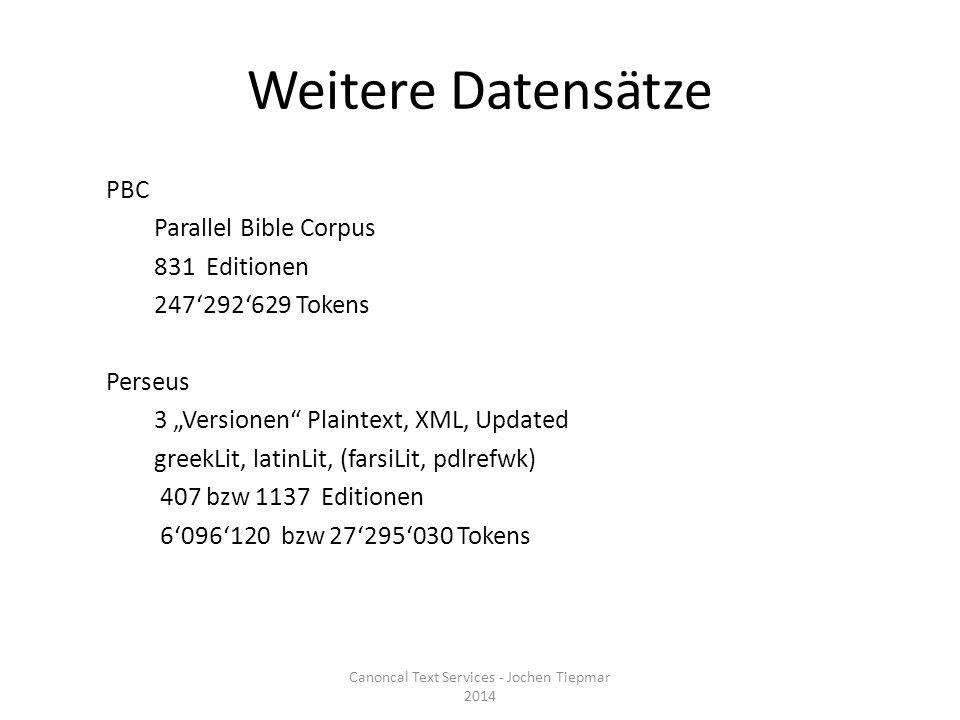 Statistiken Testumgebung: - Ubuntu-Server Testsetup: - Hole Liste aller Editionen - Frage je den Abschnitt [URN_der_Edition]:1-2 ab Canoncal Text Services - Jochen Tiepmar 2014