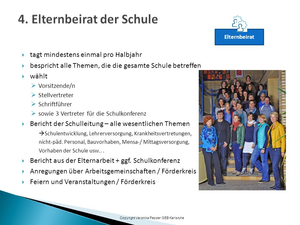 Klasse SMV Elternbeirat Klassenpflegschaft Schulkonferenz 3 X Copyright Veronika Pepper GEB Karlsruhe Klassenpflegschaft Fach-/Jahrgangsstufen- Klassenkonferenz Gesamtlehrer-konferenz (GLK) Schulleitung Elternbeiratsvorsitzende(r)