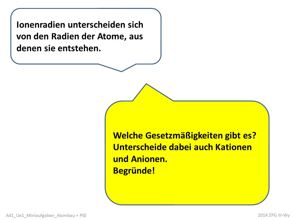 Kationenradien sind < als die zugehörigen Atomradien, da diese Kationen eine Elektronenschale weniger besitzen als die Atome.