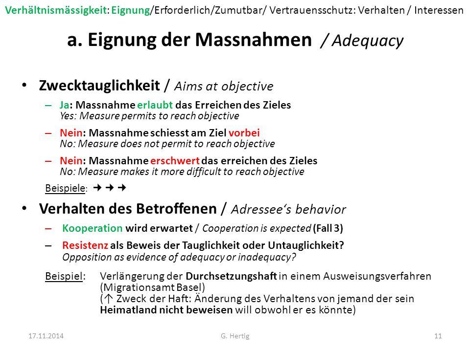Beispiele: Zwecktauglichkeit Beispiel 1 : Gastwirtschaftspatent (Zürich) Wird nicht erteilt weil Missverhältnis Mietzins  Erwartete Rendite (↓ Kein Zusammenhang mit Gewähr ordentliche Wirtschaftsführung) Beispiel 2 : Heliports (Bern) Beschränkung der Einsatzgebieten aus Lärmschutz-gründen (↓ Kürzere Anflugwege aber keine Exklusivität = keine effektive Lärmbekämpfung) Beispiel 3 : Parkverbote Werden durch die Polizei nicht durchgesetzt (↓ Freihaltung von Verkehrsfläche wird nicht erreicht = ungeeignete Beschränkung) 17.11.201412G.