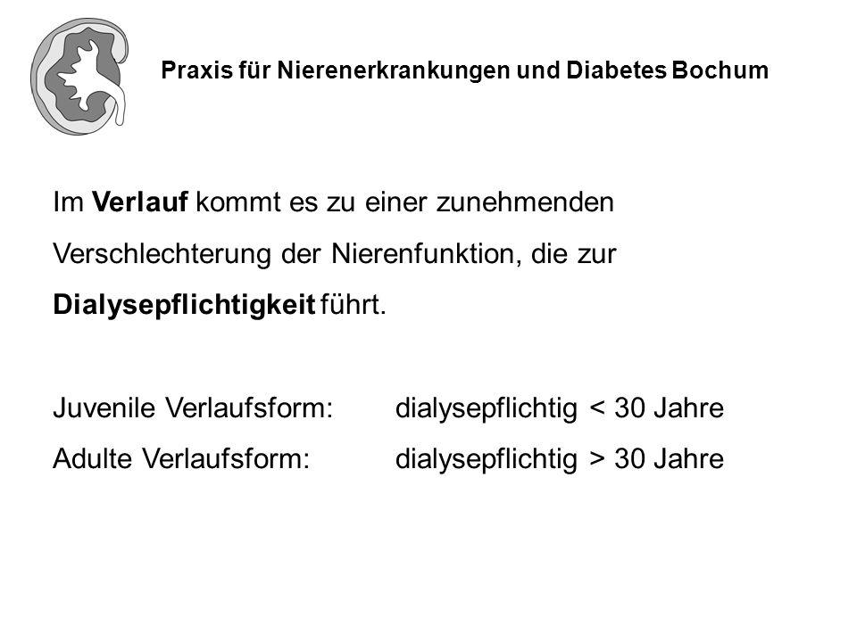 Praxis für Nierenerkrankungen und Diabetes Bochum Bisher gibt es keine spezifische Therapie des Alport Syndroms Blutdrucksenkung, bevorzugt mit ACE-Hemmern, z.