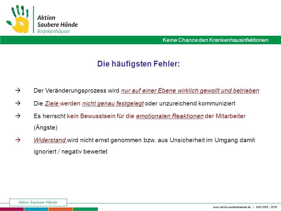 Keine Chance den Krankenhausinfektionen www.aktion-sauberehaende.de | ASH 2008 - 2016 Aktion Saubere Hände www.aktion-sauberehaende.de | ASH 2011 - 2013 FAZIT: Widerstände gegen Veränderung sind normal!.