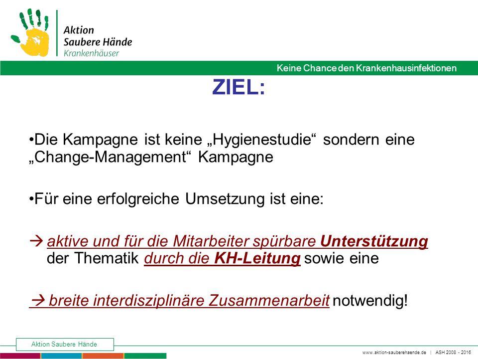 Keine Chance den Krankenhausinfektionen www.aktion-sauberehaende.de | ASH 2008 - 2016 Aktion Saubere Hände ZIEL: Das gesamte Haus/die gesamte Abteilung übernimmt Verantwortung für das Gelingen der Aktion und die Umsetzung der beschlossenen Maßnahmen.