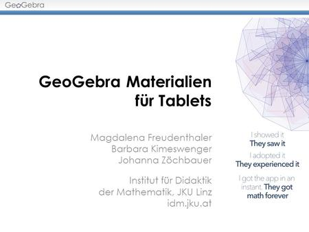 GeoGebra Materialien für Tablets