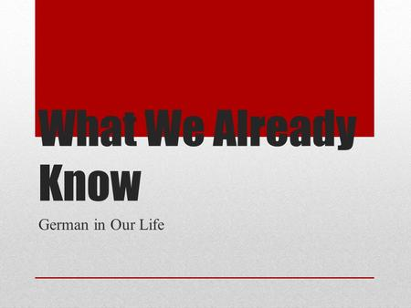 What We Already Know German in Our Life. Wie sagt man…