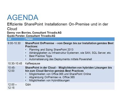 AGENDA Effiziente SharePoint Installationen On-Premise und in der Cloud Danny von Borries, Consultant Trivadis AG Guido Forster, Consultant Trivadis.