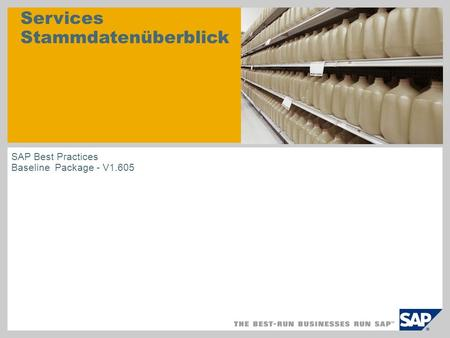 Services Stammdatenüberblick SAP Best Practices