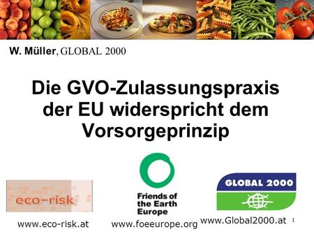 1 Die GVO-Zulassungspraxis der EU widerspricht dem Vorsorgeprinzip W. Müller, GLOBAL 2000 www.foeeurope.org www.Global2000.at www.eco-risk.at.