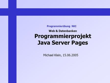 Web & Datenbanken Programmierprojekt Java Server Pages Michael Klein, 15.06.2005 Programmierübung NKI.