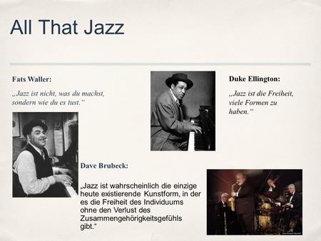 All That Jazz Fats Waller: Duke Ellington: