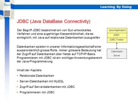 Learning By Doing JDBC (Java DataBase Connectivity) Der Begriff JDBC bezeichnet ein von Sun entwickeltes Verfahren und eine zugehörige Klassenbibliothek,