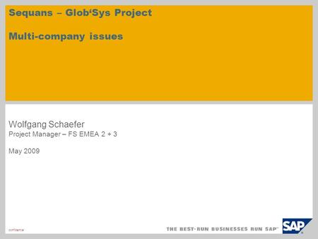 Confidential Sequans – GlobSys Project Multi-company issues Wolfgang Schaefer Project Manager – FS EMEA 2 + 3 May 2009.