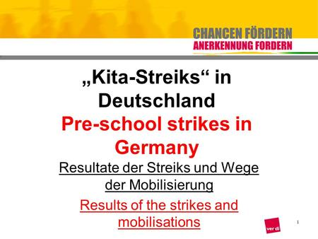 1 Kita-Streiks in Deutschland Pre-school strikes in Germany Resultate der Streiks und Wege der Mobilisierung Results of the strikes and mobilisations.