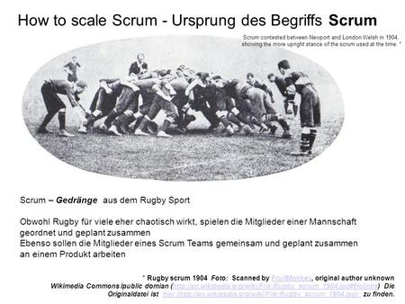 How to scale Scrum - Ursprung des Begriffs Scrum Scrum contested between Newport and London Welsh in 1904, showing the more upright stance of the scrum.