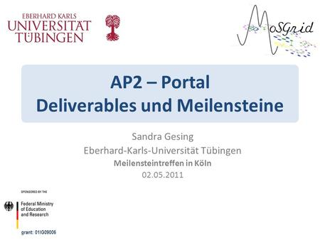 AP2 – Portal Deliverables und Meilensteine