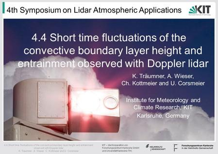 KIT – die Kooperation von Forschungszentrum Karlsruhe GmbH und Universität Karlsruhe (TH) 4.4 Short time fluctuations of the convective boundary layer.