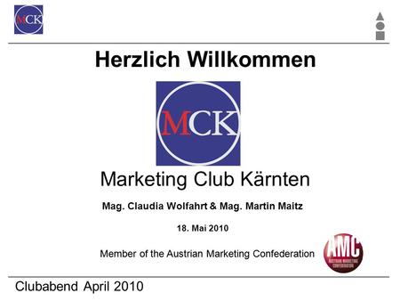 Clubabend April 2010 Mag. Claudia Wolfahrt & Mag. Martin Maitz 18. Mai 2010 Marketing Club Kärnten Herzlich Willkommen Member of the Austrian Marketing.
