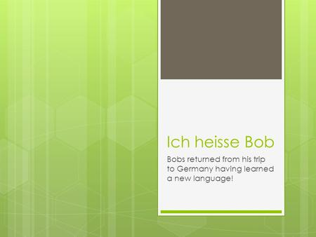 Ich heisse Bob Bobs returned from his trip to Germany having learned a new language!