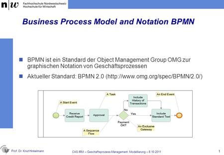 Prof. Dr. Knut Hinkelmann Business Process Model and Notation BPMN BPMN ist ein Standard der Object Management Group OMG zur graphischen Notation von Geschäftsprozessen.