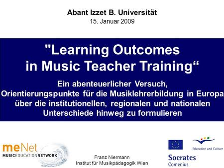 Learning Outcomes in Music Teacher Training""