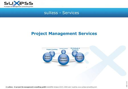 © suXess - it-project & management consulting gmbh mariahilfer strasse 123/3, 1060 wien / austria, www.suXess-consulting.com suXess - Services Project.