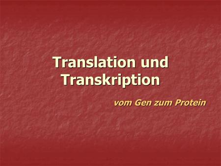 Translation und Transkription
