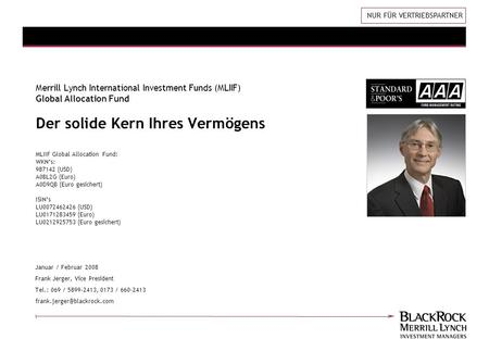 Januar / Februar 2008 Frank Jerger, Vice President Tel.: 069 / 5899-2413, 0173 / 660-2413 Merrill Lynch International Investment.