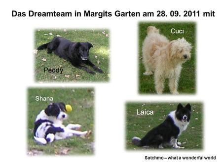 Das Dreamteam in Margits Garten am 28. 09. 2011 mit Satchmo – what a wonderful world.
