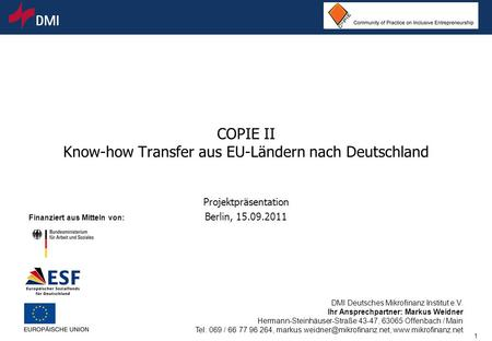 COPIE II Know-how Transfer aus EU-Ländern nach Deutschland