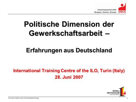 International Training Centre of the ILO, Turin (Italy) 28. Juni 2007