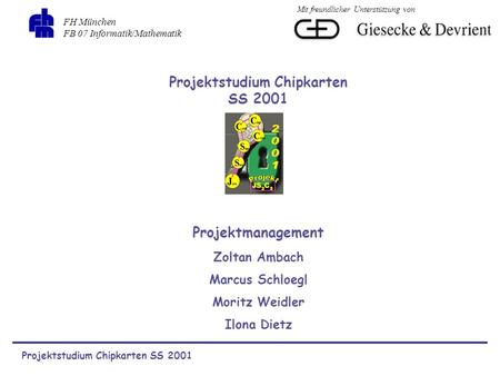 Projektstudium Chipkarten