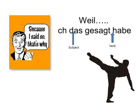 Weil….. ich das gesagt habe Subject Verb. Weil Because verb kicker kicks the verb to the end of the clause Ich mag Käse.,weil ich Käse mag.