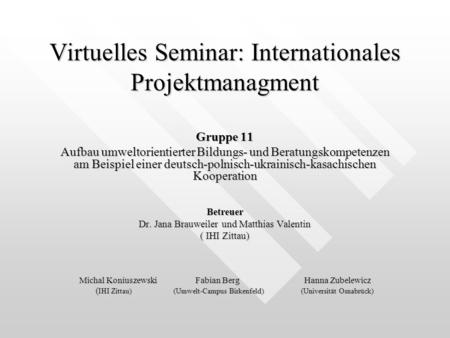 Virtuelles Seminar: Internationales Projektmanagment