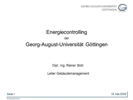 Energiecontrolling der Georg-August-Universität Göttingen