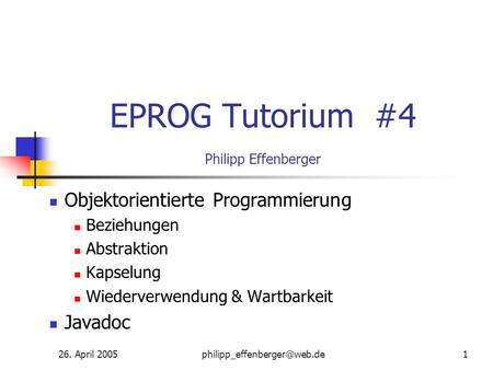 EPROG Tutorium #4 Philipp Effenberger