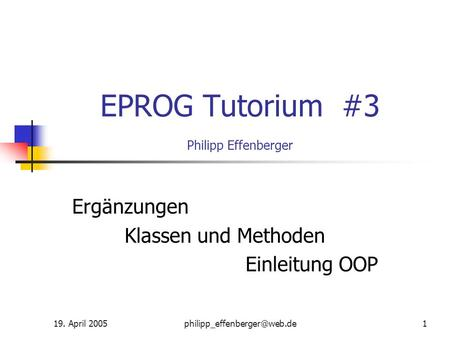 EPROG Tutorium #3 Philipp Effenberger