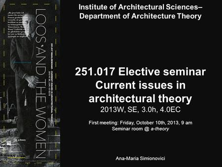 Elective seminar Current issues in architectural theory