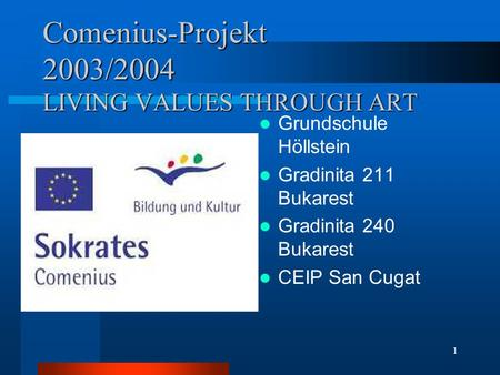 1 Comenius-Projekt 2003/2004 LIVING VALUES THROUGH ART Grundschule Höllstein Gradinita 211 Bukarest Gradinita 240 Bukarest CEIP San Cugat.
