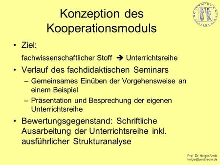 Konzeption des Kooperationsmoduls