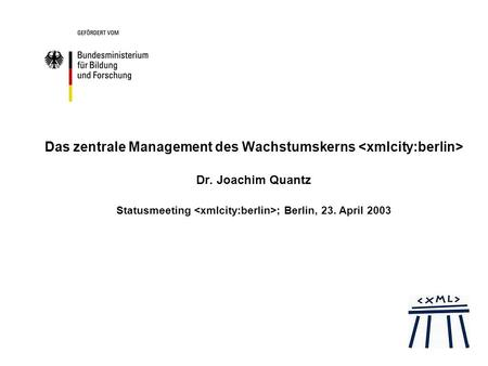 Das zentrale Management des Wachstumskerns Dr. Joachim Quantz Statusmeeting ; Berlin, 23. April 2003.