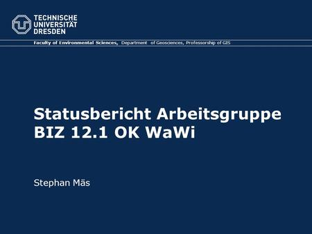 Statusbericht Arbeitsgruppe BIZ 12.1 OK WaWi Faculty of Environmental Sciences, Department of Geosciences, Professorship of GIS Stephan Mäs.