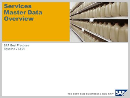 Services Master Data Overview SAP Best Practices Baseline V1.604.