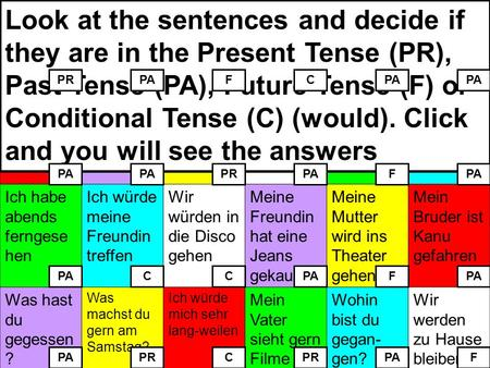 Look at the sentences and decide if they are in the Present Tense (PR), Past Tense (PA), Future Tense (F) or Conditional Tense (C) (would). Click and you.