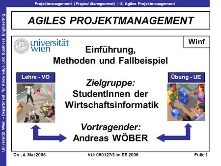 Projektmanagement (Project Management) – 8. Agiles Projektmanagement Universität Wien – Department für Knowledge und Business Engineering Do., 4. Mai 2006VU:
