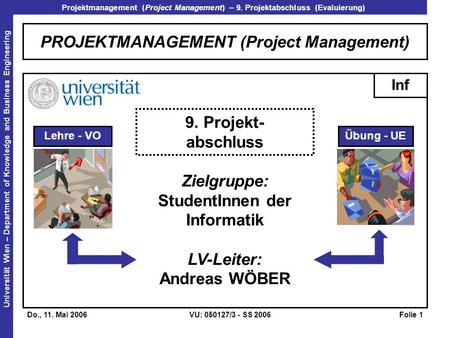 Projektmanagement (Project Management) – 9. Projektabschluss (Evaluierung) Universität Wien – Department of Knowledge and Business Engineering Do., 11.