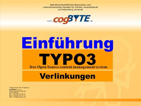 TYPO3 free Open Source content management system Einführung Verlinkungen.
