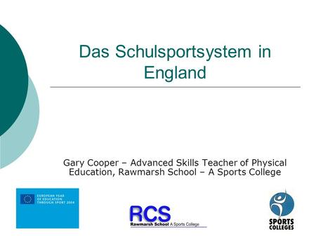 Das Schulsportsystem in England Gary Cooper – Advanced Skills Teacher of Physical Education, Rawmarsh School – A Sports College.