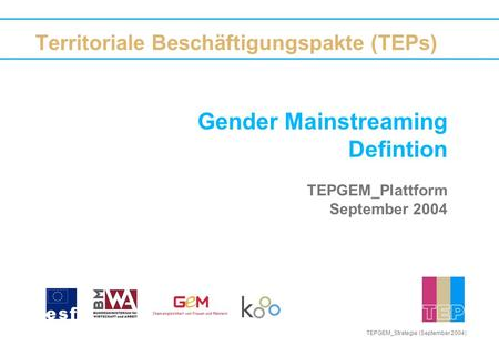 Gender Mainstreaming Defintion TEPGEM_Plattform September 2004 Territoriale Beschäftigungspakte (TEPs) TEPGEM_Strategie (September 2004)
