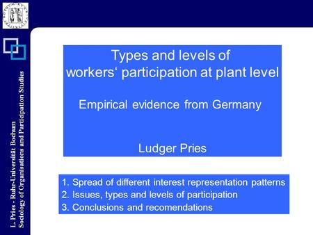 L. Pries - Ruhr-Universität Bochum Sociology of Organisations and Participation Studies Types and levels of workers participation at plant level Empirical.